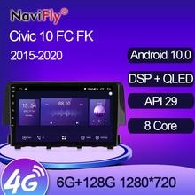NaviFly-راديو السيارة متعدد الوسائط Android 7862 ، نظام تحديد المواقع العالمي للملاحة ، 6 جيجابايت 1280 جيجابايت ، 720 × 128 ، QLED ، 10.0 ، لهوندا سيفيك 10 ، FC ، FK ...
