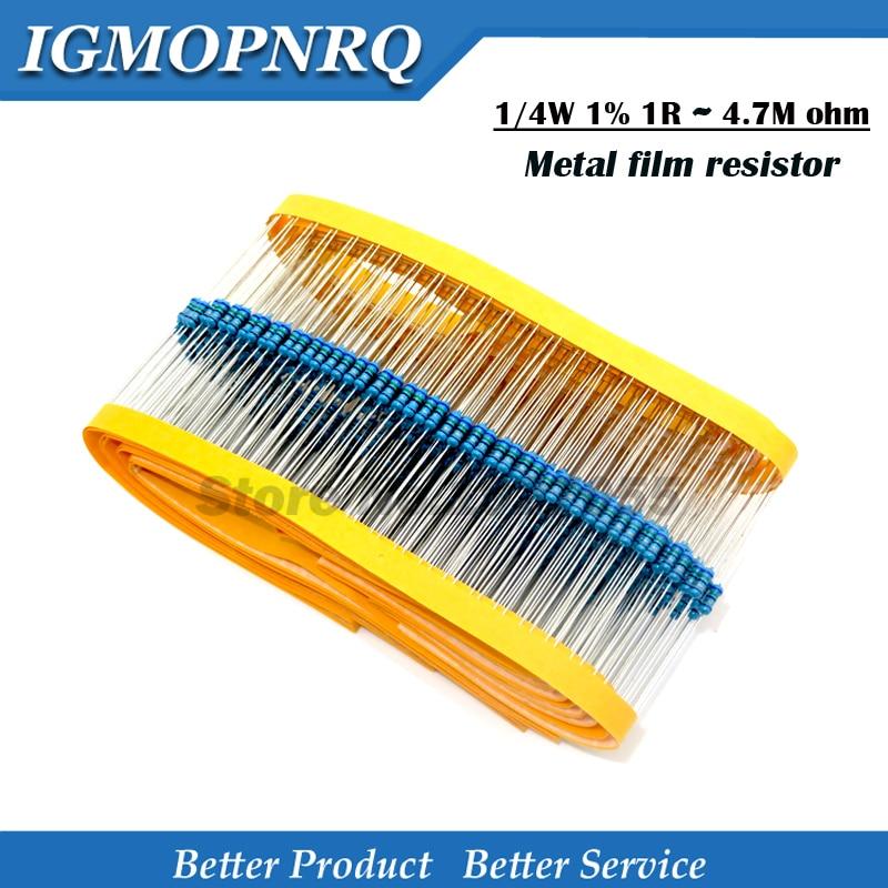 100pcs 1/4W Metal Film Resistor Series 1R~2.2M 1%  Resistance 10K 22K 47K 100K 100 220 1K5 100R 220R 1K 1.5K 2.2K  4.7K 4K7 Ohm
