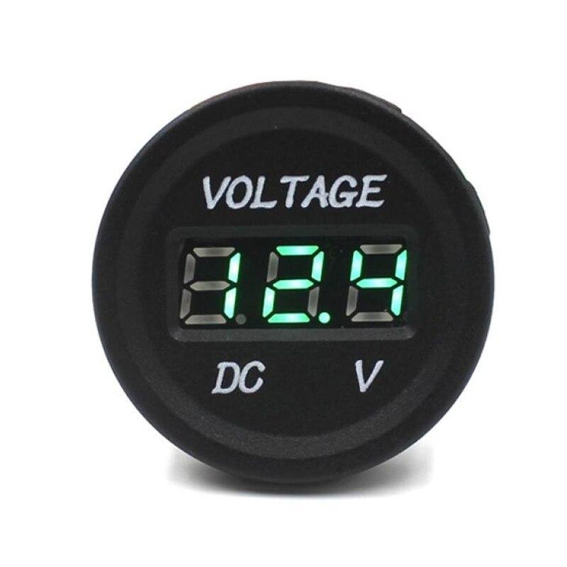 Car Motorcycle Waterproof LED Digital Display Voltmeter 12V-24V DC (Green)