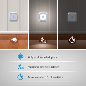 Image 5 - 6led pirモーションセンサーナイトライトledキャビネットナイトランプバッテリーセンサーライトクローゼットワードローブ階段廊下ホーム寝室
