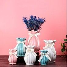Europa ceramiczne pasek wazon klasyczny bukiety na stół wazony czy dekoracji ślub dekoracje domu wazon z wstążka dekoracji