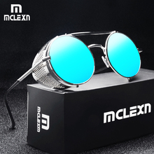 MCLEXN Retro Steampunk Sunglasses Round Steam Punk Metal Shields