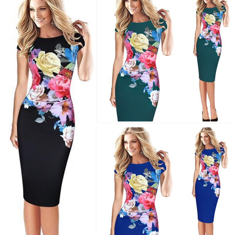BacklakeGirls 2020 New Arrival Printing Flower Cocktail Dresses Knee-length Short Sleeve Plus Size Party Dress Vestidos