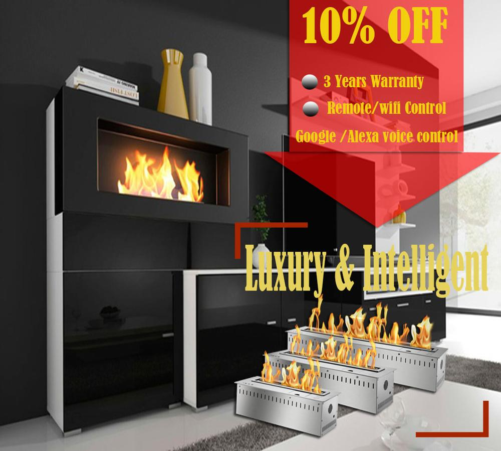 On Sale 48'' Stainless Steel Ethanol Fireplace Smart Burner With Remote Control Inserts