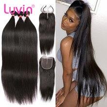 Luvin brasileiro feixes de tecer cabelo humano com fechamento em linha reta feixes de cabelo humano com frontal fechamento do laço 4x4