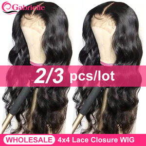 Gabrielle Hair 4x4 Lace Closure Wig Brazilian Body Wave Wigs Human Hair 3 pcs Lace Wigs For Women 150% Density Remy Hair