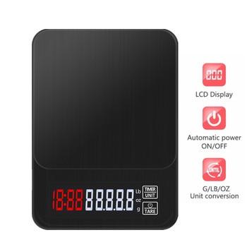 ЖК-дисплей электронный капельный Кофе цифровой шкалой Кухня весы с таймером Вес бытовые весы таймер Вес баланс кг/3 кг/5 кг/10 кг 0,1 г
