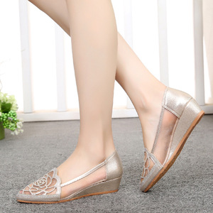 Image 1 - STAN SHARK New Womens Summer Fish Mouth Wedge Sandals Shoes Rhinestones OL Hollow Net Shoes
