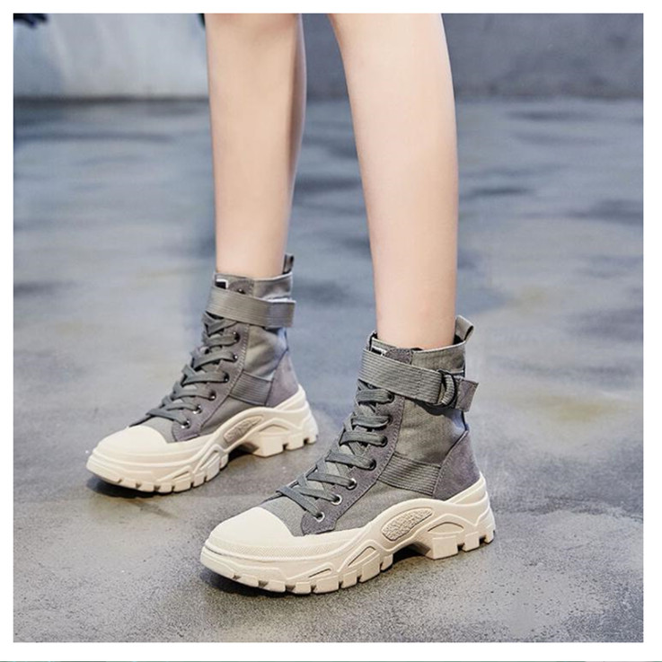 Female autumn new wild high to help retro motorcycle boots short boots canvas thick Martin boots