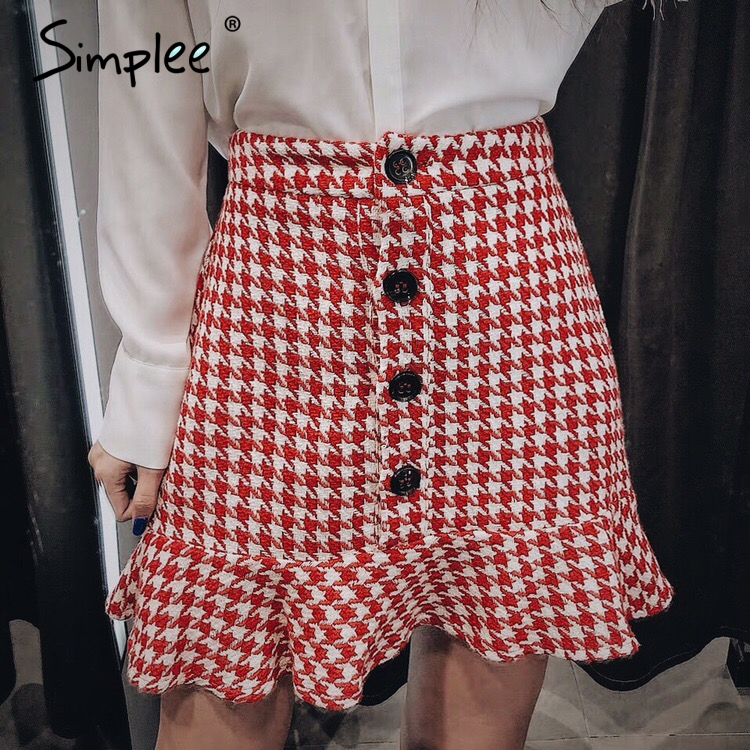 Simplee Plaid Tweed Women Skirt Autumn Winter Button Ruffled Female Trumpet Mermaid Short Skirt Casual Ladies Bottom Party Skirt