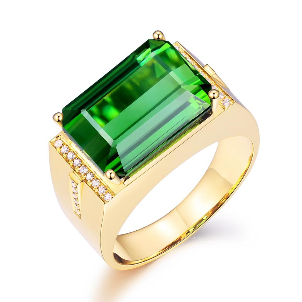 Luxury Gold Plated Men's Ring Square Green Gems Zircon Men Wedding Ring Fashion Crystal Ring Engagement Anniversary Jewelry Gift