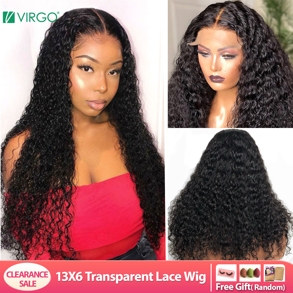 Wig Human-Hair-Wig Curly Transparent Deep-Wave Lace-Front Pre-Plucked Virgo 13X6 Peruvian title=
