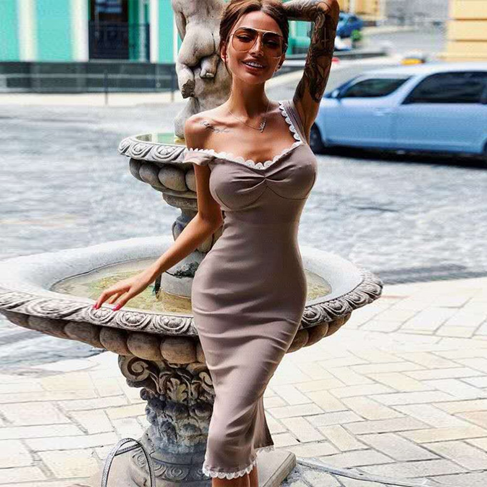Ocstrade Vestido Bandage Dress Women 2020 New Summer Women Nude Scalloped Elegant Midi Bandage Dress Bodycon Sexy Party Dress