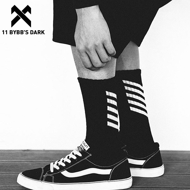 11 BYBB'S DARK 3 Pairs Hip Hop Men Long Socks Korean Skateboard Black White Striped Printed Happy Socks Unisex Women Men