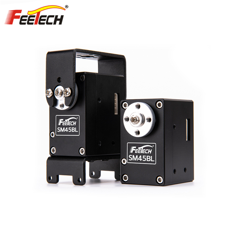 2019 Feetech SM45BL All Metal 45kg Magnetic Code HV 24V 360 degree RS485 Double Shaft with Bracket Modbus RTU Brushless Servo