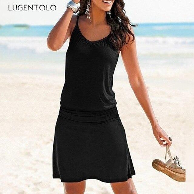 Lugentolo Women's Dress Summer Loose Printed Wavy Pattern Beach New Style Casual Sleeveless Sexy Female Short Dress 4