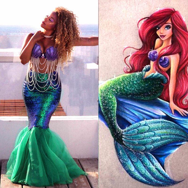 Heißen Frauen Erwachsene Meerjungfrau Schwanz Voller Rock Party Maxi Phantasie Cosplay Shiny Halloween Bekleidung Pailletten Kostüm Prinzessin Damen S-XL