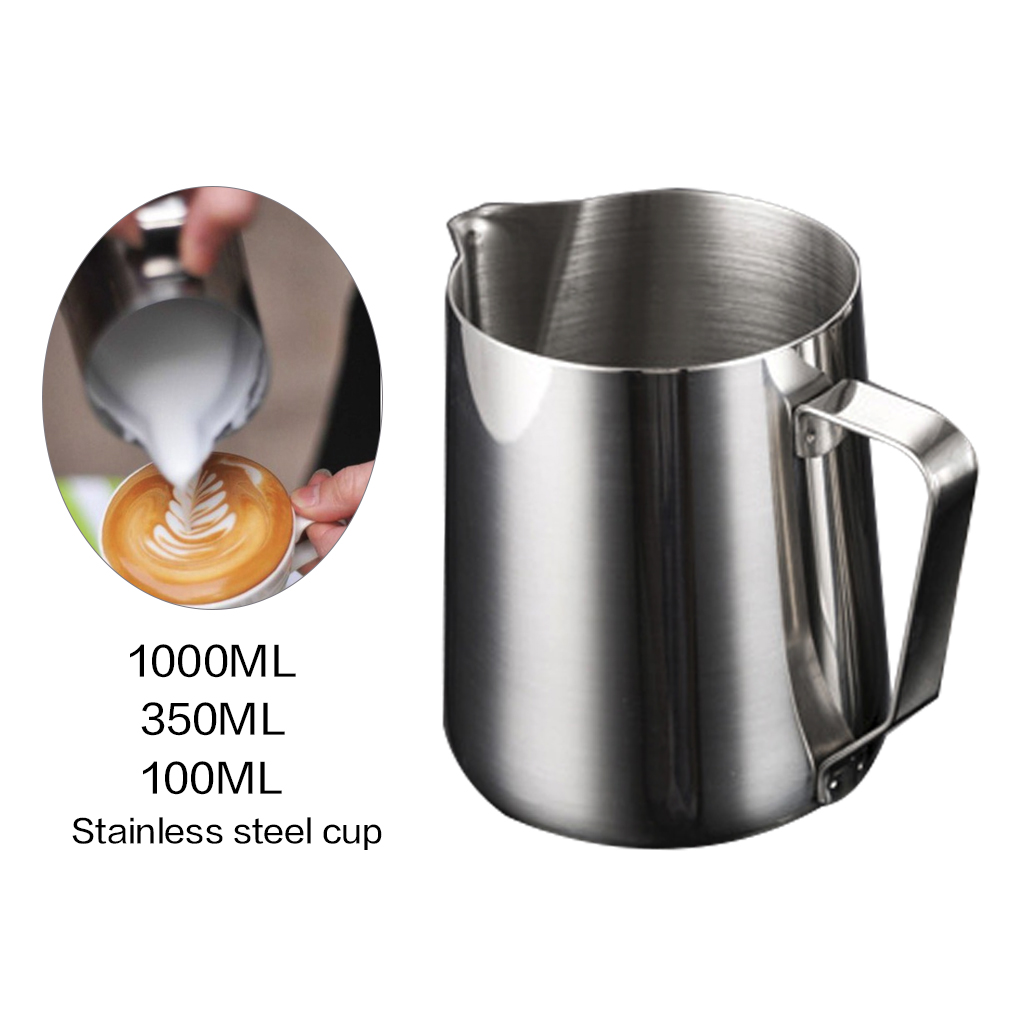 Stainless Steel Milk Frothing Jug 1L Frothing Pitcher Pull Flower Cup Coffeware Espresso Barista Craft Coffee Latte Container