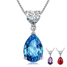 Simple Blue Purple CZ Zircon Waterdrop Pendant Necklace Heart Shaped Crystal Choker Statement Necklace For Women Jewelry(China)