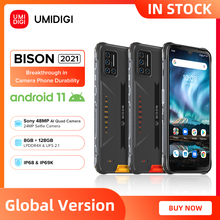 Umidigiバイソン2021 nfcアンドロイド11スマートフォンIP68/IP69K防水頑丈な電話8ギガバイト + 128ギガバイト48MPマトリックスクワッドカメラfhd + ディスプレイ