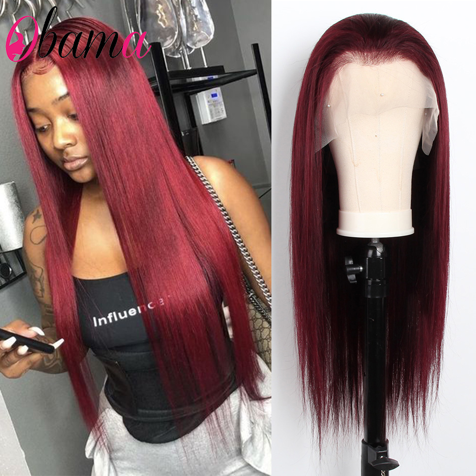 Burgundy Colored Human Hair Wigs Pre Plucked Remy Peruvian Hair 99J Straight Lace Front Wig For Black Women Glueless Lace Wigs