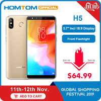 "Global version HOMTOM H5 360 OS Android8.1Mobile Phone 3GB+32GB 3300mAh 5.7"" Face ID 13MP MT6739 Quad Core 4G FDD-LTE Smartphone"