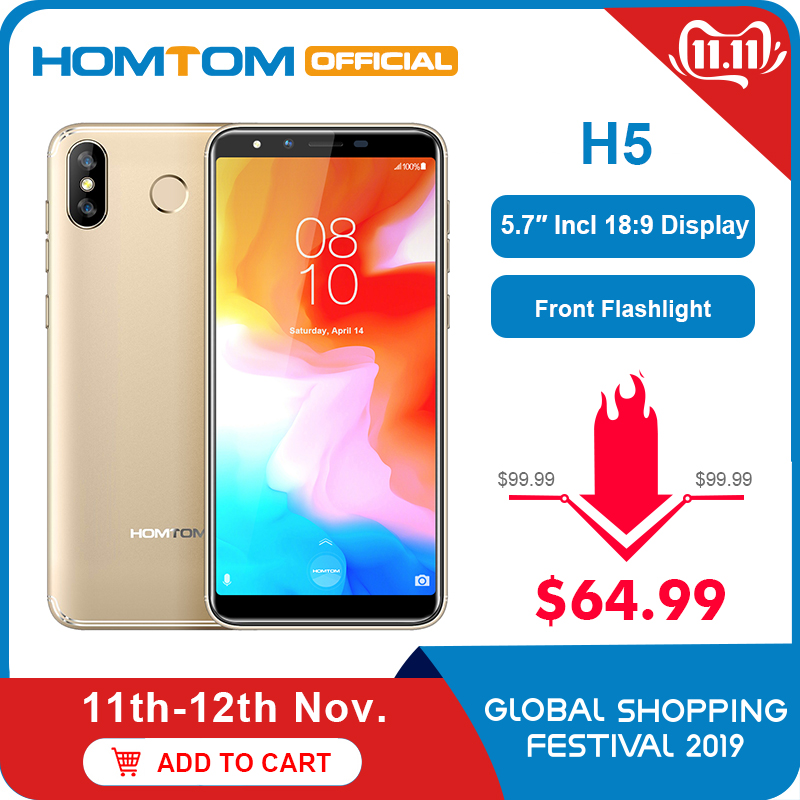 Versión Global HOMTOM H5 360 OS Android8.1Mobile teléfono 3GB + 32GB 3300mAh 5,7