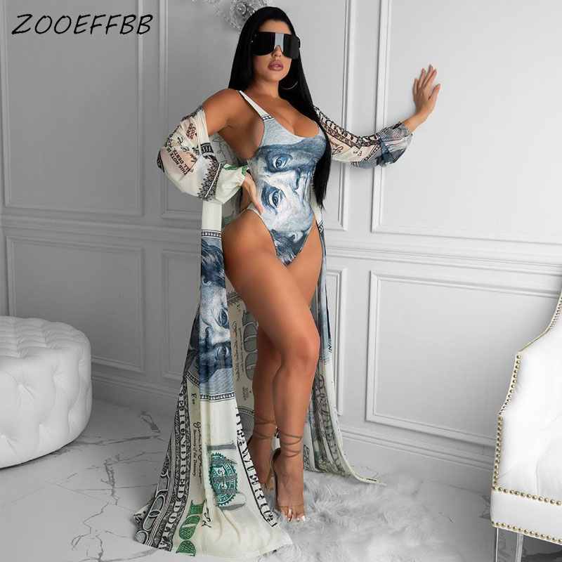 ZOOEFFBB Sexy Dollar Print Two Piece Set Women Clothes Long Cardigan Top And Bodysuit Swim Suit Club Outfits Beach Matching Sets