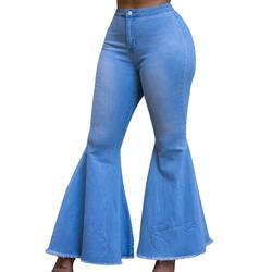 Женские расклешенные джинсы с высокой талией, расклешенные брюки-карго с высокой талией, 10 шт., большие размеры, 2019