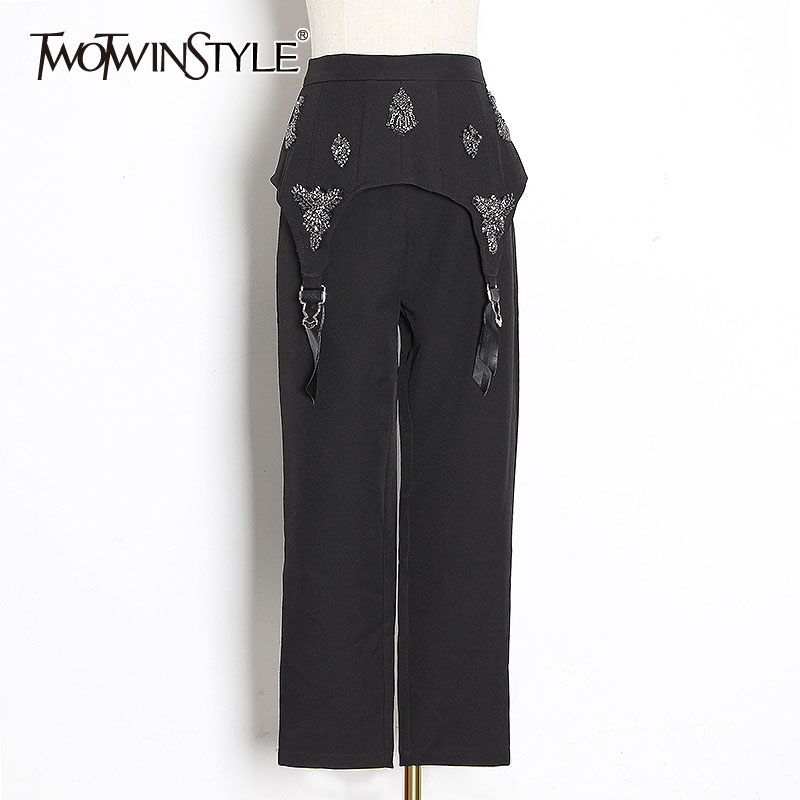 TWOTWINSTYLE Black Patchwork Rhinestone Pants Female High Waist Casual Irregular Straight Trousers For Women Fashion 2019 Tide
