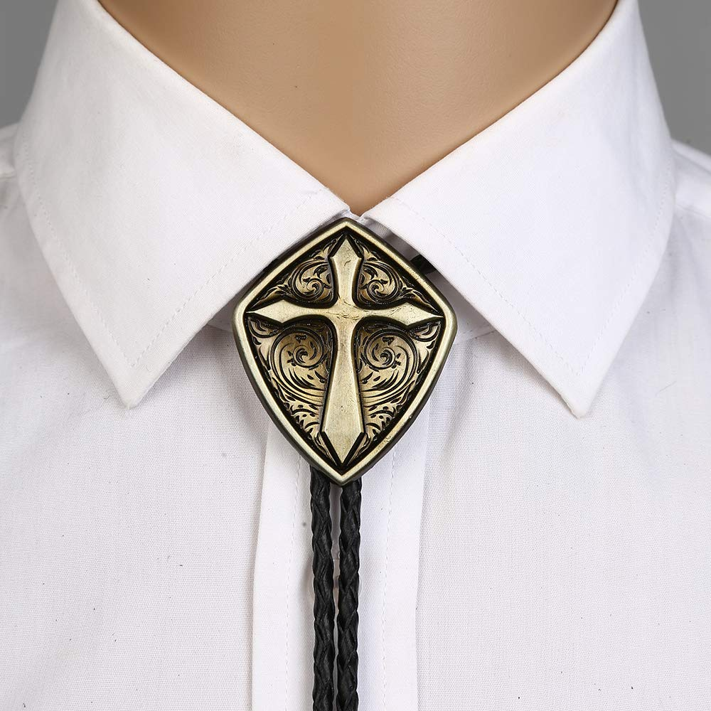 Romen Shield Cross Pattrn Bolo Tie For Man Indian Cowboy Western Cowgirl Leather Rope Zinc Alloy Necktie