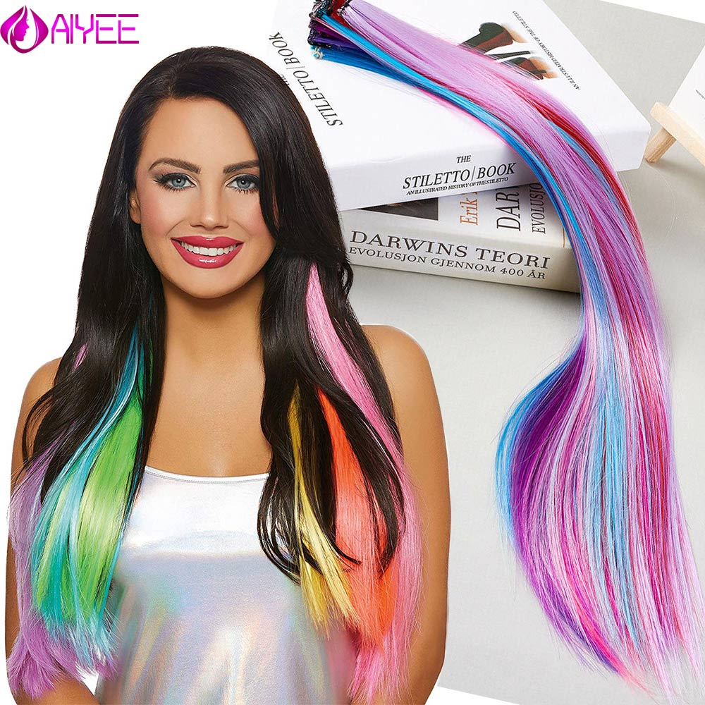 AIYEE 100 Colors Single Clip In One Piece Hair Extensions Synthetic Long Straight Ombre Grey Red Rainbow Hair Piece