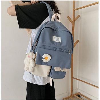 Szkolne torby na plecaki dla nastolatek szkolne damskie nylonowe torby na książki miękkie solidne kasetonowe kwiaty Student Schoolbag tanie i dobre opinie BOWEEN CN (pochodzenie) Oxford zipper Backpack 0 5kg Polyester 40cm Floral bag for school Dziewczyny 13cm 30cm
