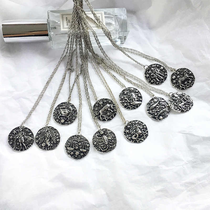 MEIBEADS  12 Constellation Charms Choker Necklace Pendants Retro Coins Necklace Jewelry For Women Collar Pendants Gift