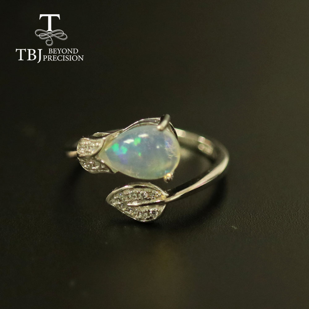 Leaf design Natural blacOpal Ring Pear 7*9mm 1ct black opal gemstone jewelry solid 925 sterling silver fine jewelry gift tbj