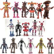 Novo fnaf cinco noites em freddys freddy brinquedos bonnie foxy fazbear urso com luz led pvc joint moveable figuras brinquedos 13-16cm presente