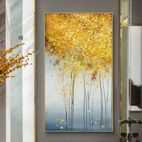 100% Hand Painted Abstract Golden Trees Painting On Canvas Wall Art Frameless Picture Decoration For Live Room Home Decor Gift