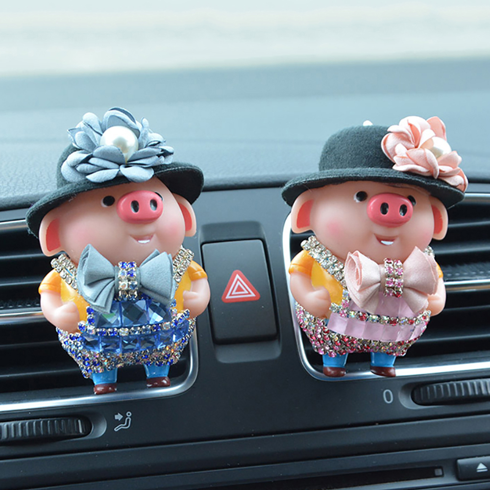 Car Freshener Cute Diamond Pig Doll Perfume Clip Cartoon Decoration Automobiles Outlet Air Purifier Scent Smell Diffuser Gifts
