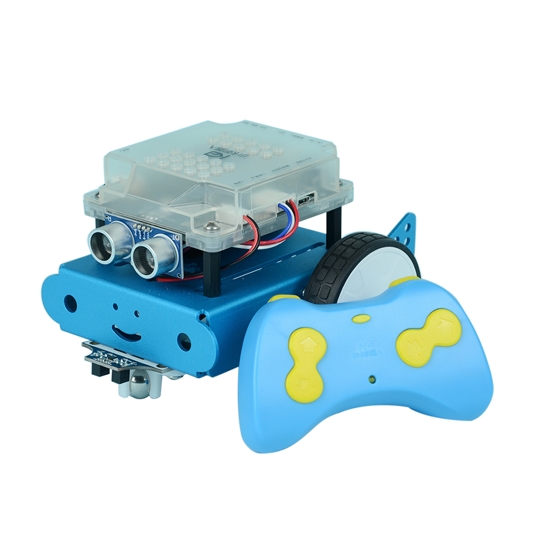 Programmable Robot DIY Obstacle Avoidance Car Graphic Programming Steam Scratch Educational Learning Kit with RC Handle - Blue
