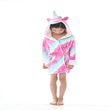 Winter Warm Kids Bathrobe Animal Cartoon Stitch Unicorn Towel Cute Bathrobes For Boys Girls Robes Children Flannel Pajamas