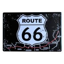 20x30cm eua rota 66 placas de sinal de metal sinais de garagem placa de lata do vintage barra decoração da parede placa shabby chique mapa cartaz pintura a876