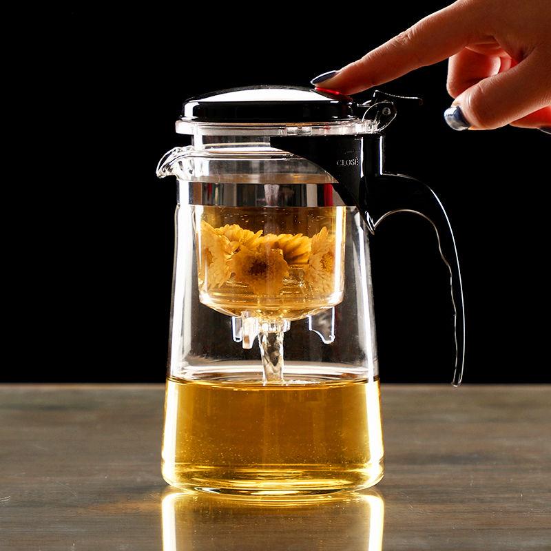 Heat Resistant Glass Tea Infuser Tea Pot Chinese Kung Fu Tea Set Puer Kettle Coffee Glass Maker Convenient Office Tea Sets