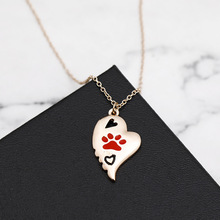 Hello Miss Fashion creative cartoon necklace hollow love dog claw pendant accessories new womens jewelry