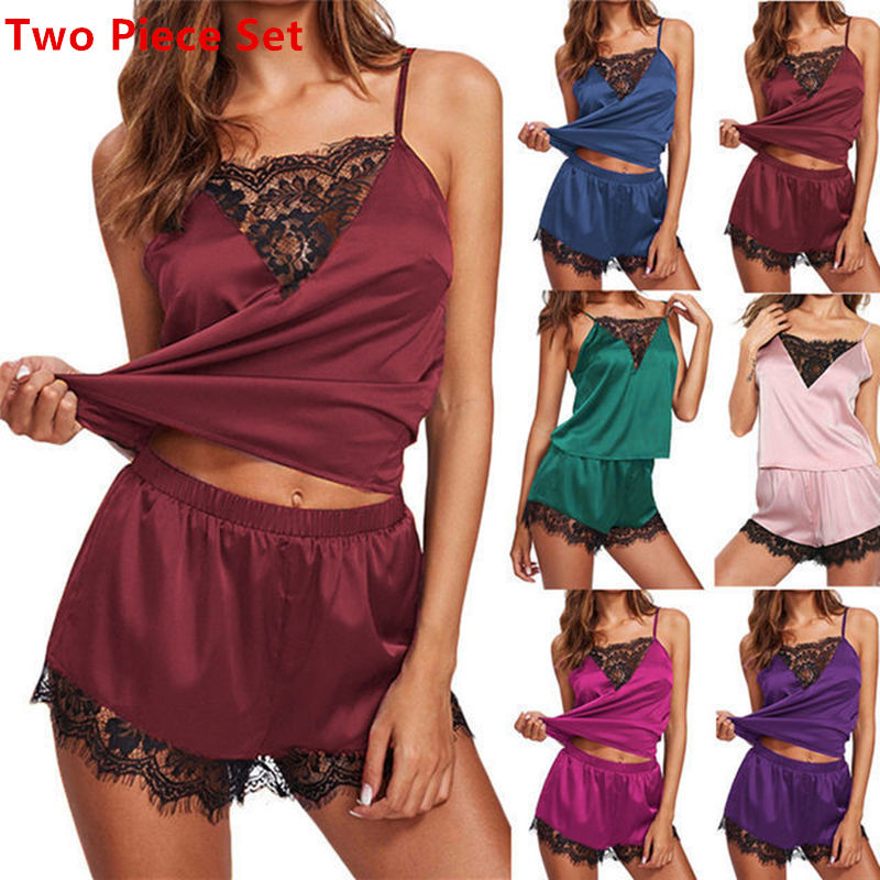 Two Piece Set Pyjamas Women Sexy Satin Pajama Set  Pink Lace Pyjamas Sleeveless Sleepwear Suspenders Top And Shorts Pijama Mujer
