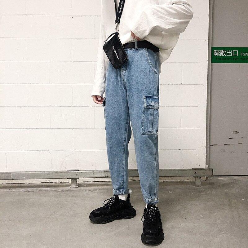 Осенние джинсы, мужские облегающие модные повседневные джинсы с вышивкой, мужские уличные штаны в стиле хип-хоп, много карманов, рабочие