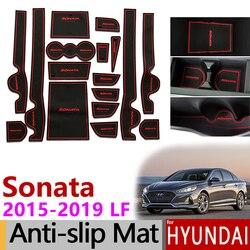 Mata do schowków na drzwiach dla Hyundai Sonata LF 2015 2016 2017 2018 2019 akcesoria do slipmata maty do schowków Coaster wnętrza samochodów podkładka żelowa na