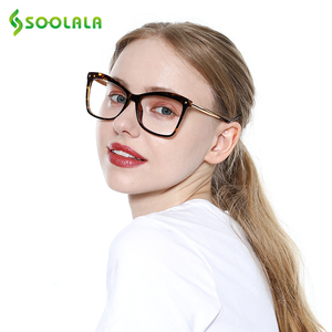 Image 3 - SOOLALA gafas de lectura tipo ojo de gato con remaches para mujer, grandes gafas, gafas de aumento, presbicia con dioptría 0,5 0,75 1,25 a 5,0