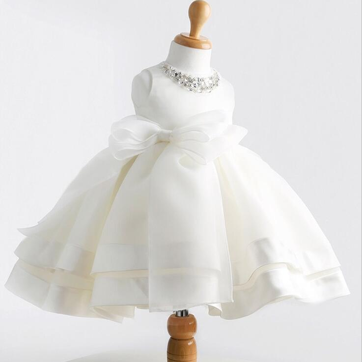 Summer Baby Girls Dresses 1st Birthday Party And Wedding Lace Cute Bow White Infant Princess Dress For Newborn Clothes BC1331-1