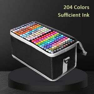 Маркеры для рисования манги, 30/40/60/80 цветов, маркеры на спиртовой основе для набросков, масляная ручка с двойной кистью, товары для рукоделия,...