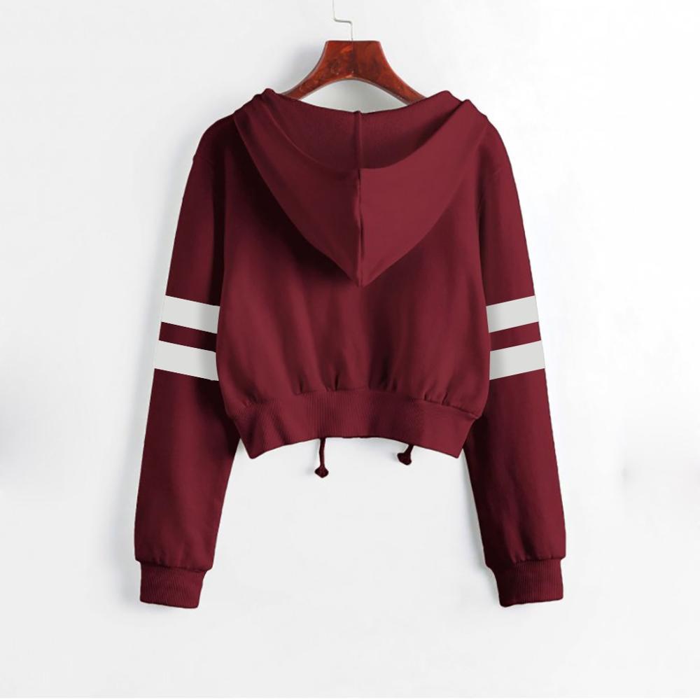 Womens Ladies Sweatshirt Plain Zip Up Hooded Long Sleeve Crop Hoody Top UK NEW